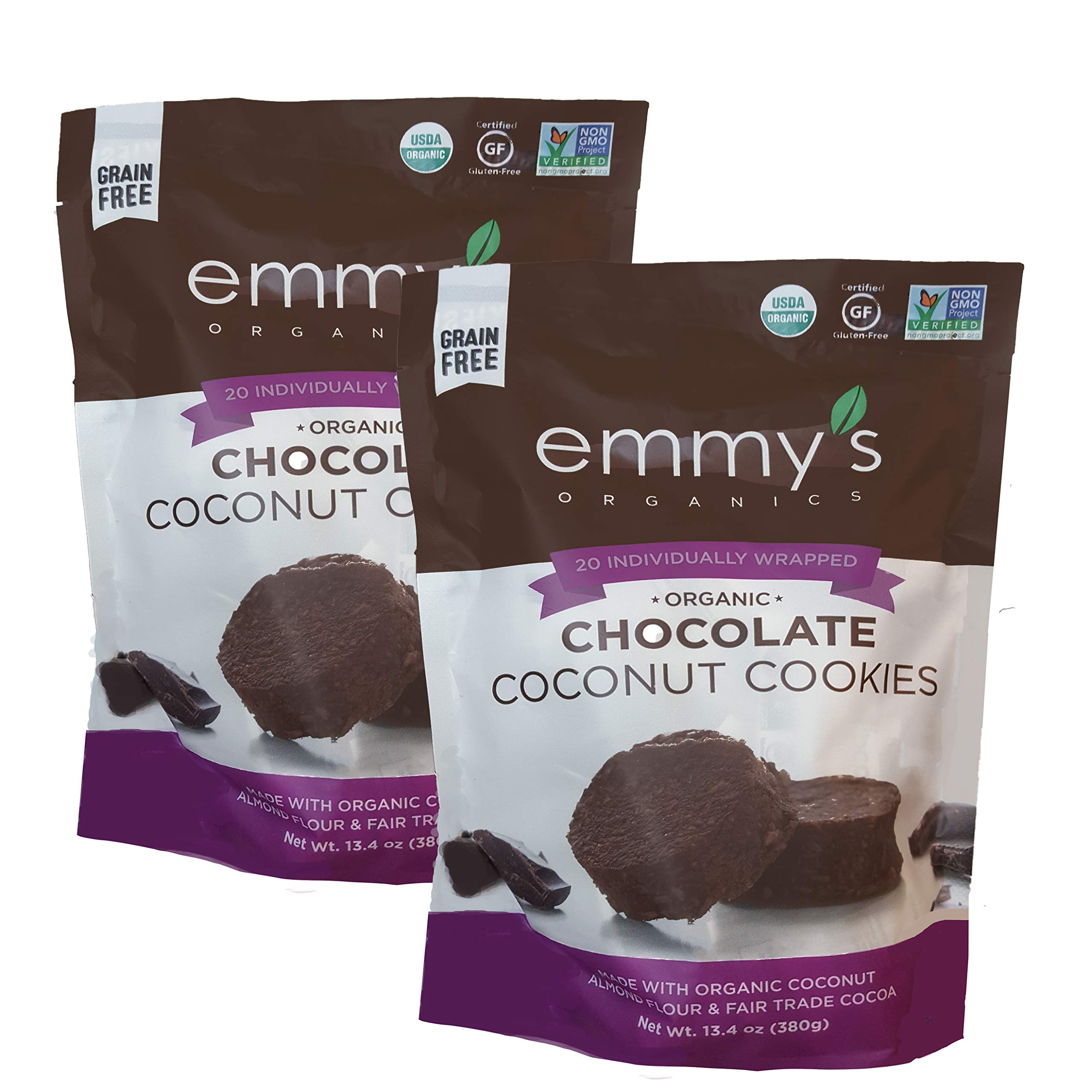 Emmy's Organic Coconut Cookies. 20 INDIVIDUALLY WRAPPED Cookies. 13.4 oz. Made with Almond Flour and Coconut Oil. Gluten Free Grain Free Vegan Kosher Non-GMO. by Emmy's Organics