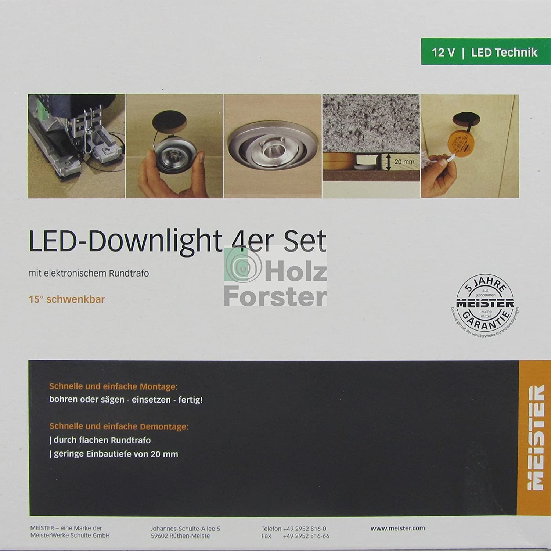 MEISTER LED Downlight Downlight Downlight Rund 12Volt 3,7Watt, 4er Set, Titan 920444