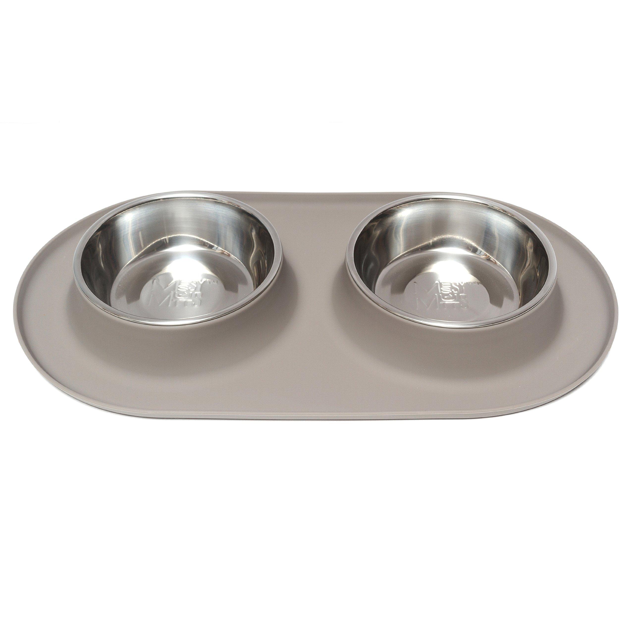 Messy Mutts Silicone Double Dog Feeder - Medium/Grey