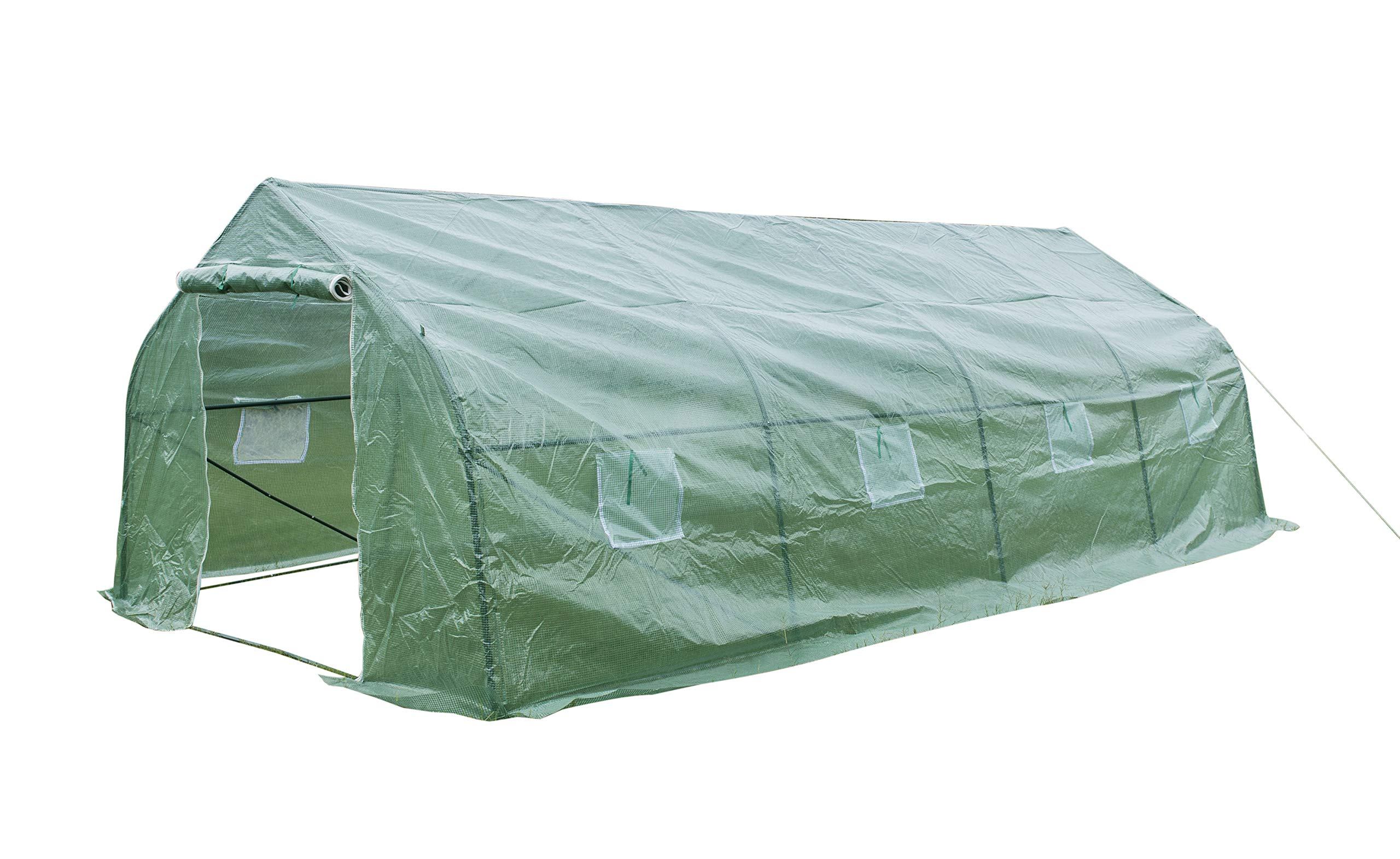 GOJOOASIS Walk-in Greenhouse 20'x10'x7' Outdoor Large Portable Green Garden House Plant Shed