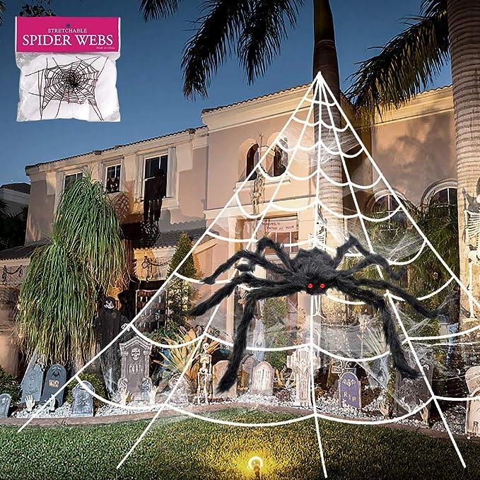 8PKS Spider Web Halloween Spider Decoration Outdoor Halloween Decorations Hairy Spider Spider Web decorations with Stretch fake spider web Set indoor Decorations Supplies Party Yard Decor
