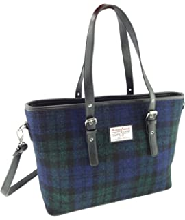 PALE BLUE CASTLE BAY TARTAN HARRIS TWEED ZIPPED HANDBAG WOOL REAL LEATHER BAG