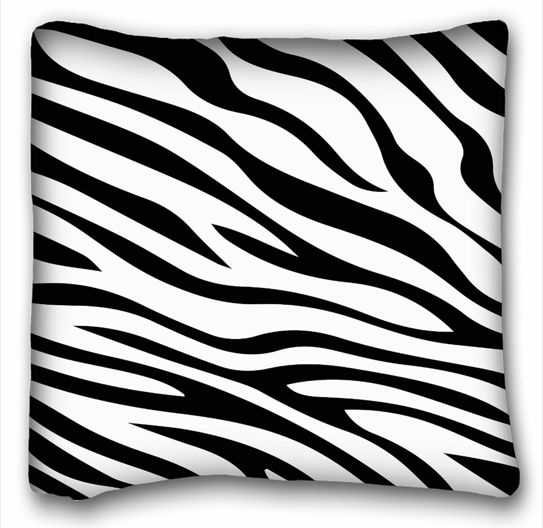 Taroloブラックand White Zebra Printストライプ動物印刷クッションケース装飾クッションカバーサイズ18 x 18インチOne Sided印刷   B074FWS696