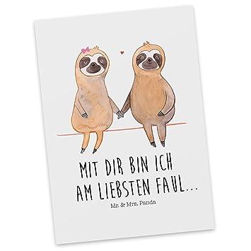 Amazon.de: Mr. & Mrs. Panda Postkarte Faultier Pärchen - 100 ...