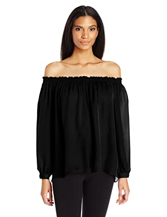 1299815806421 Nicole Miller Women s Rocky Smocked Off The Shoulder Top at Amazon ...