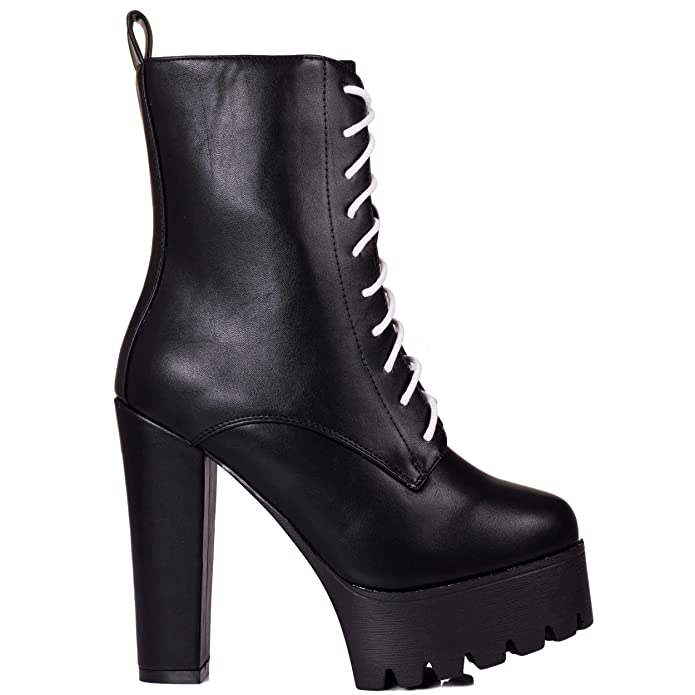 9443fb539927 Spylovebuy OXKING Women s Chunky Lace Up Platform Block Heel Ankle Boots  Shoes  Amazon.co.uk  Shoes   Bags