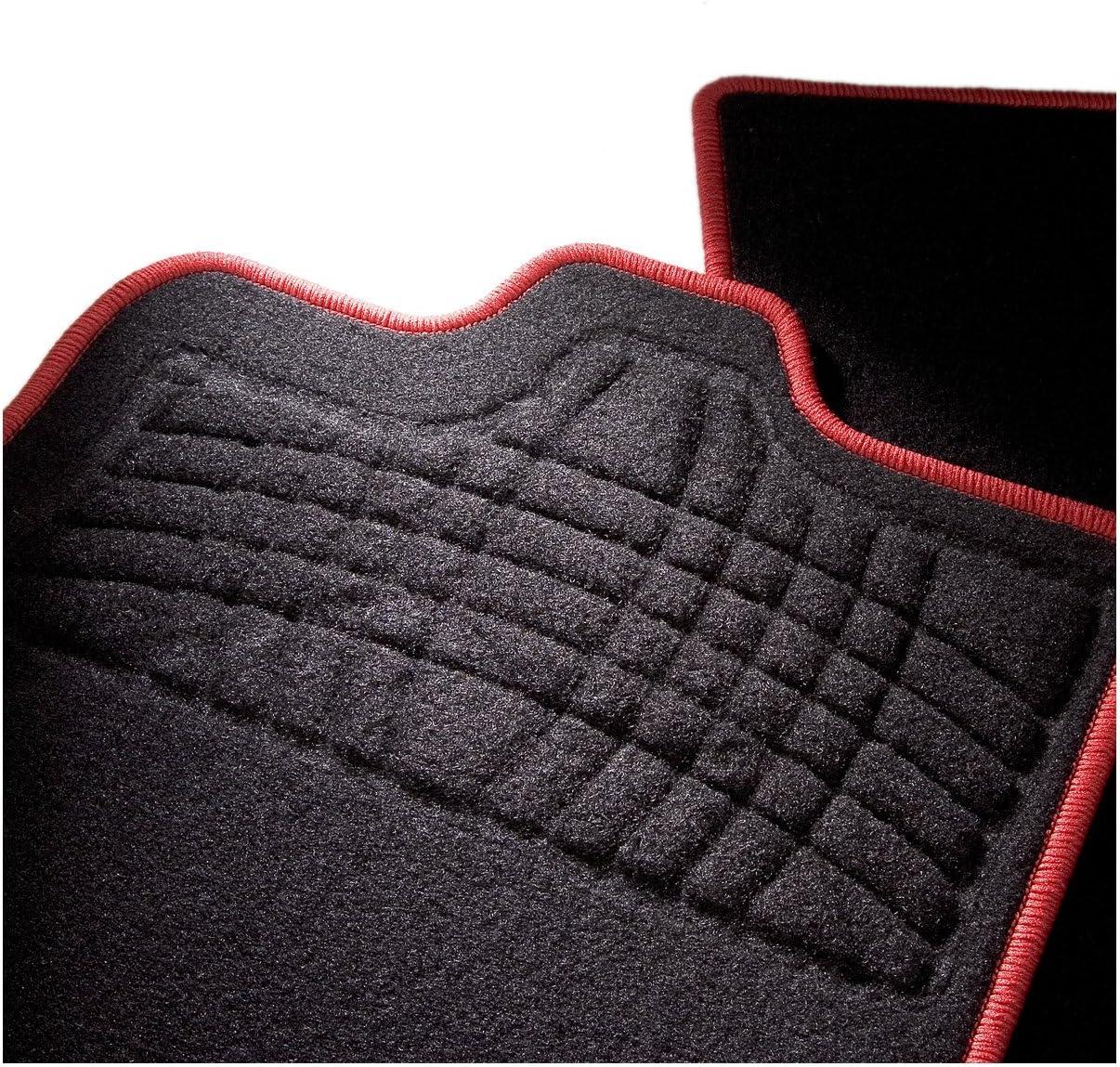 2-Piezas CarFashion 268165 Auto Alfombra Soporte sin Juego de alfombrillas para Matte plana SilverStone Rojo Allwetter