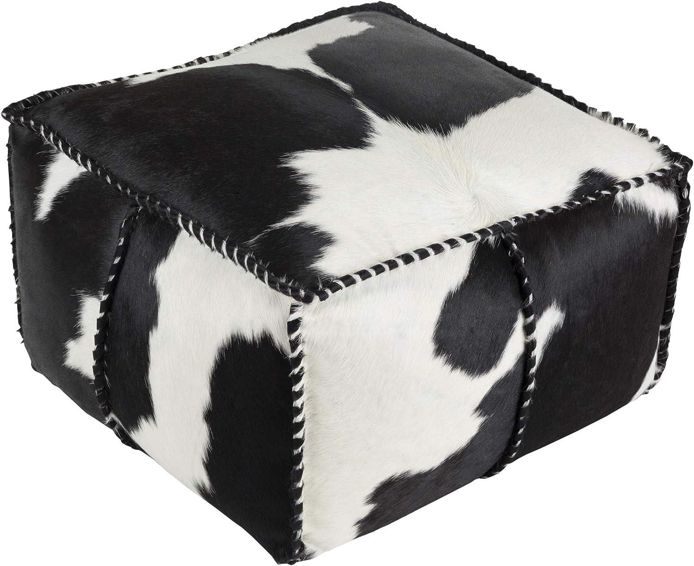 Black//White 22 x 22 x 13 13 H x 22 W x 22 D Surya Artistic Weavers Jimena Pouf