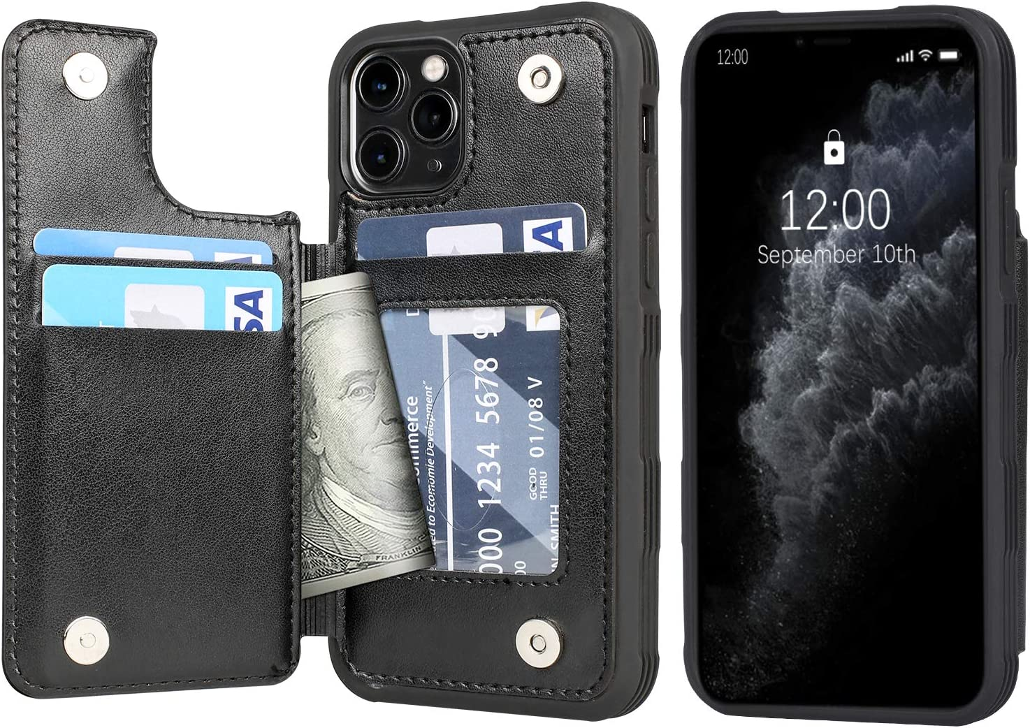 Simple Flip Case Fit for iPhone 11 Pro Black Leather Cover Wallet for iPhone 11 Pro