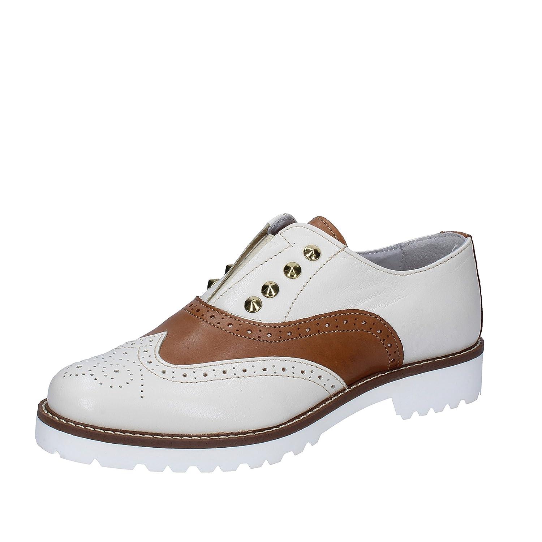 OLGA RUBINI Zapatos de Cordones de Piel Sintética Para Mujer 35 EU|Beige Marrone Cuoio
