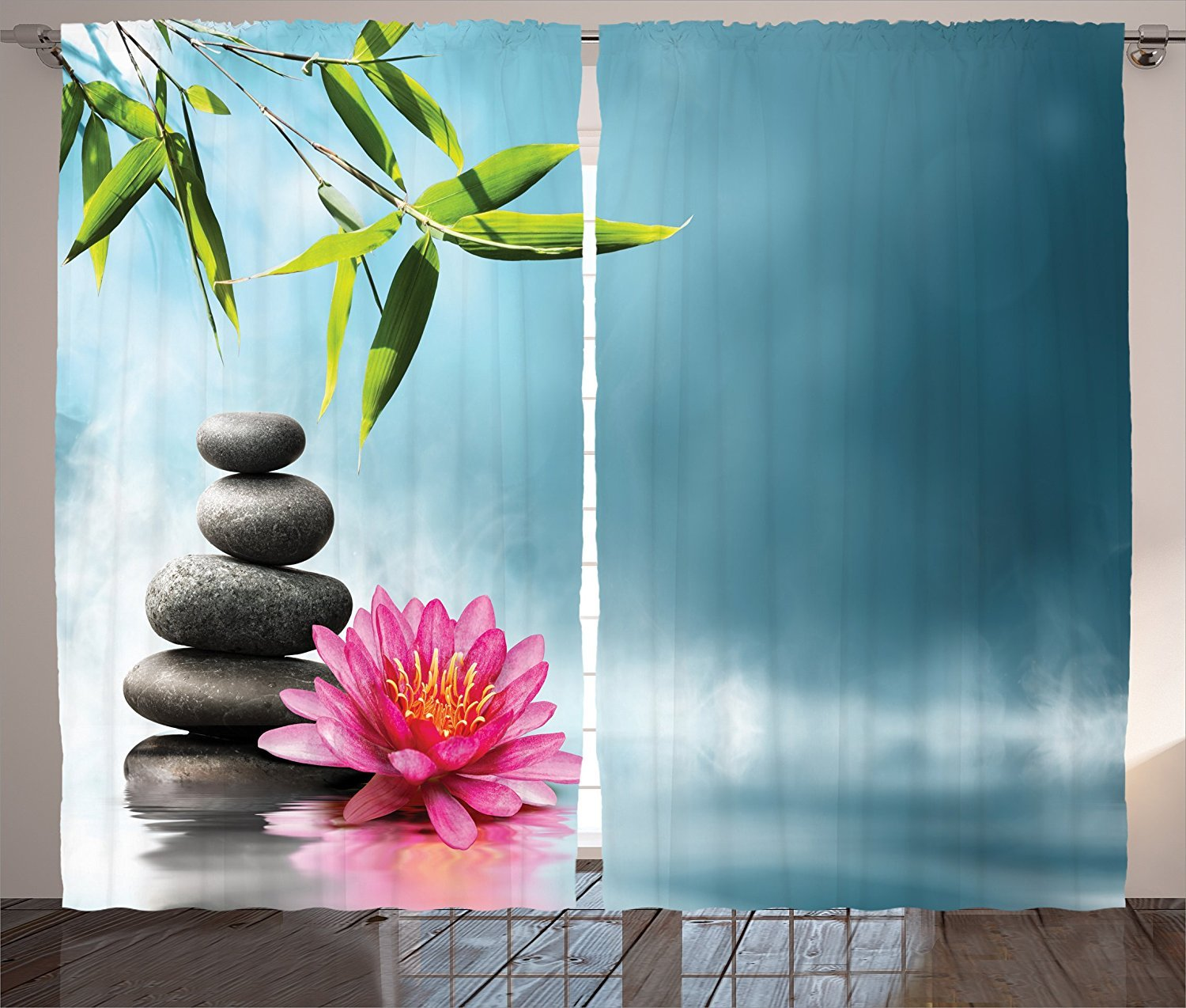 Spa Decor Curtains Spa Theme Picture with Lily Lotus Flower and Rocks Yoga Style Purifying Your Soul Theme Living Room Bedroom Decor 2 Panel Set Blue Pink Green
