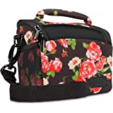 Bridge Camera Bag Floral w/ Protective Neoprene Material , Rain Cover and Adjustable Dividers by USA Gear - Works W/ Nikon Coolpix P900 / Canon PowerShot SX60 , SX530 / Panasonic Lumix FZ80 & More