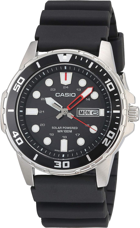 Casio Men's Solar Powered Stainless Steel Quartz Resin Strap, Black, 22 Casual Watch (Model: MTP-S110-1AVCF)