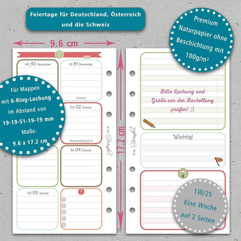 HappySinn SinnWunder/® 2020 Premium-Kalendereinlagen Personal Wochenplan mit 1 Woche auf 1 Seite