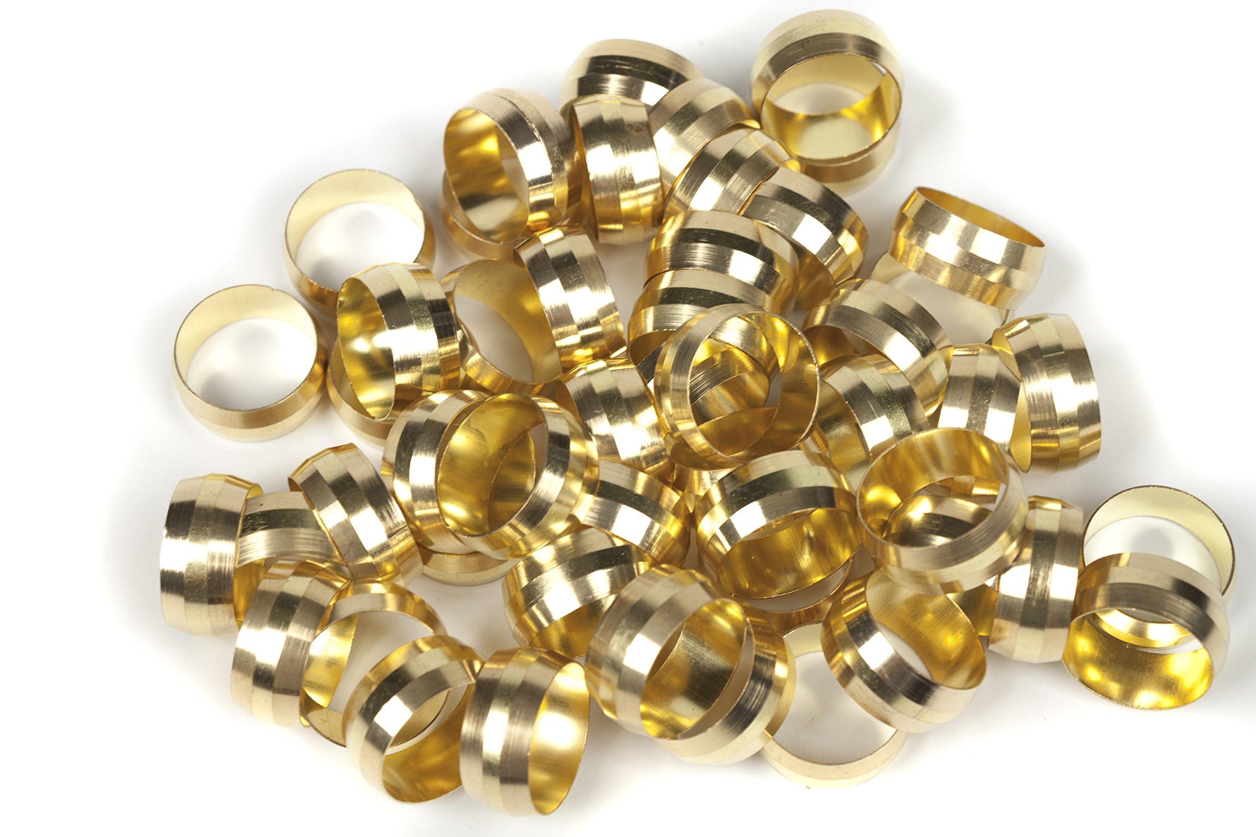 LTWFITTING 5/8'' Brass Compression Sleeves Ferrels ,BRASS COMPRESSION FITTING(Pack of 50) by LTWFITTING (Image #2)