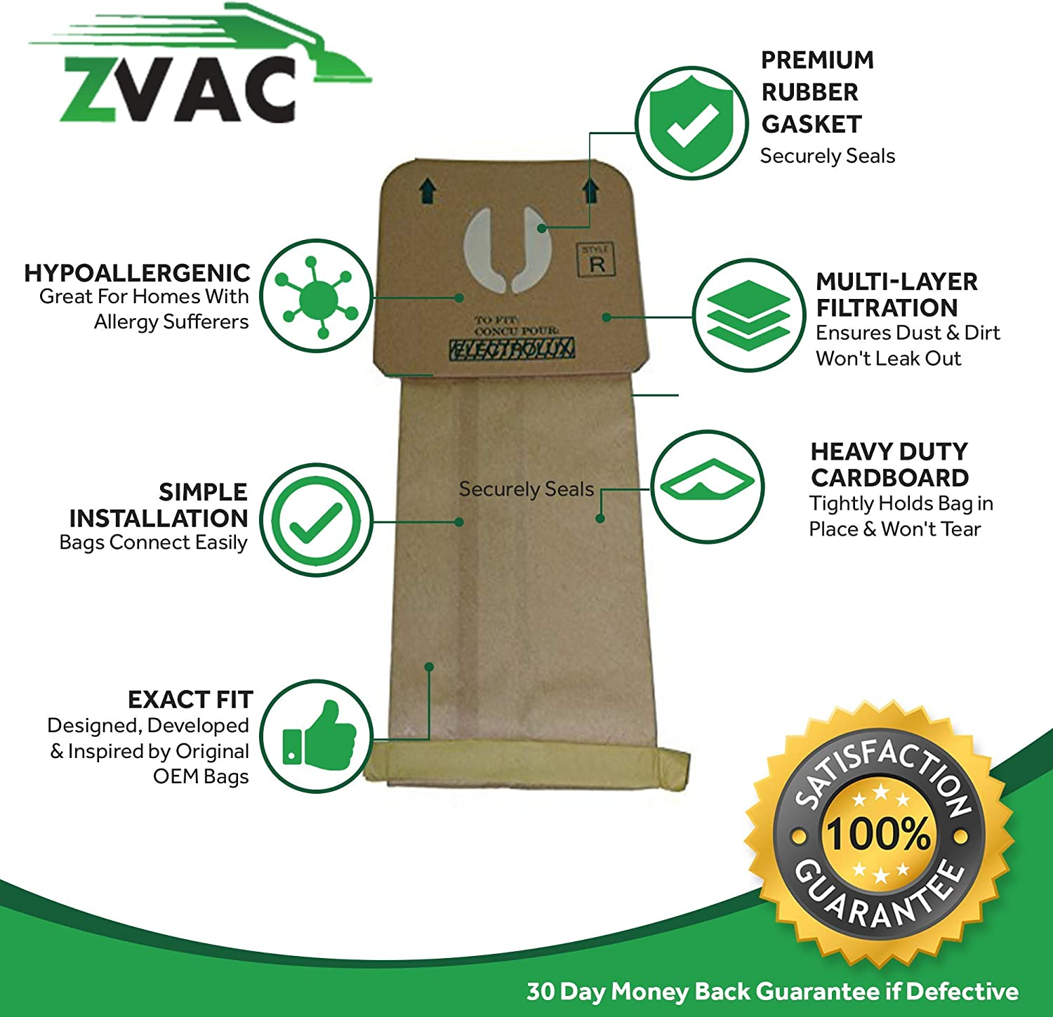 Epic 8000 10 Also Fits The LUX 9000 Model Vacuum Cleaners Electrolux Renaissance MicroFiltration Style R Premium Vacuum Bags; Fits Electrolux Renaissance Guardian Series by ZVac