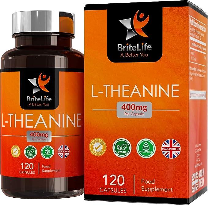 BriteLife L-Teanina 400mg Pastillas para Dormir | ALTA RESISTENCIA | 120 Capsulas Vegetarianas | Mantiene la Relajación y Aumenta el Rendimiento Cognitivo: ...