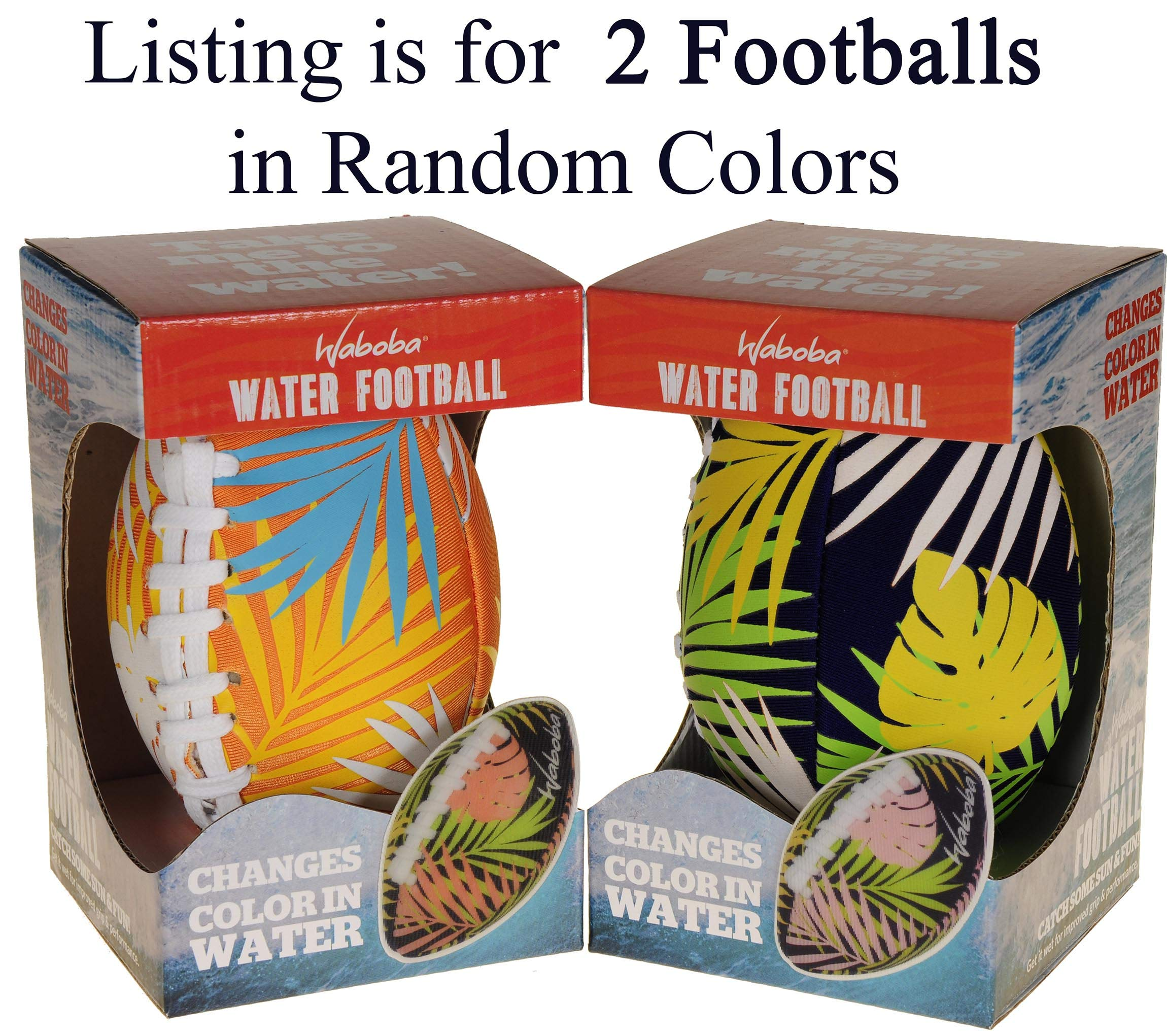 Waboba Color Changing Water Football 6'' // Bundle of 2 Footballs (Random Colors) // Bonus Blue Nylon Mesh Carry Bag// Bundled Items by Waboba (Image #1)