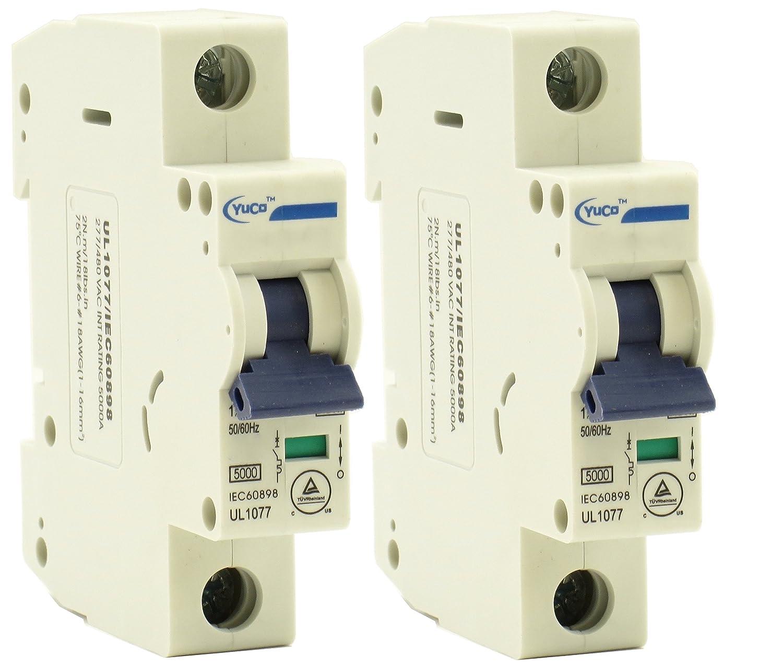 Yuco YC-10-1C Miniature Din Rail Circuit Breaker C Curve 120//277V 50//60Hz 1 Pole 10 Amp