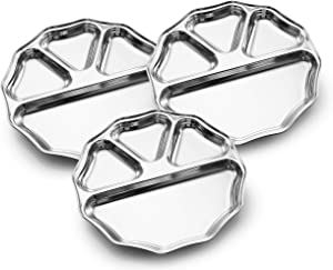 Expresso Indian Heavy Duty Stainless Steel BPA Free Round Dinner Plate w/ 4 Sections Divided Mess Trays for Kids, Toddler Lunch, Camping, Events & Every Day Use Kitchenware, Set of 3 Piece…
