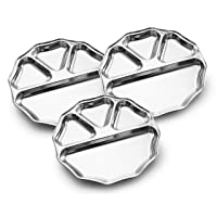 Expresso Indian Heavy Duty Stainless Steel BPA Free Round Dinner Plate w/ 4 Sections...
