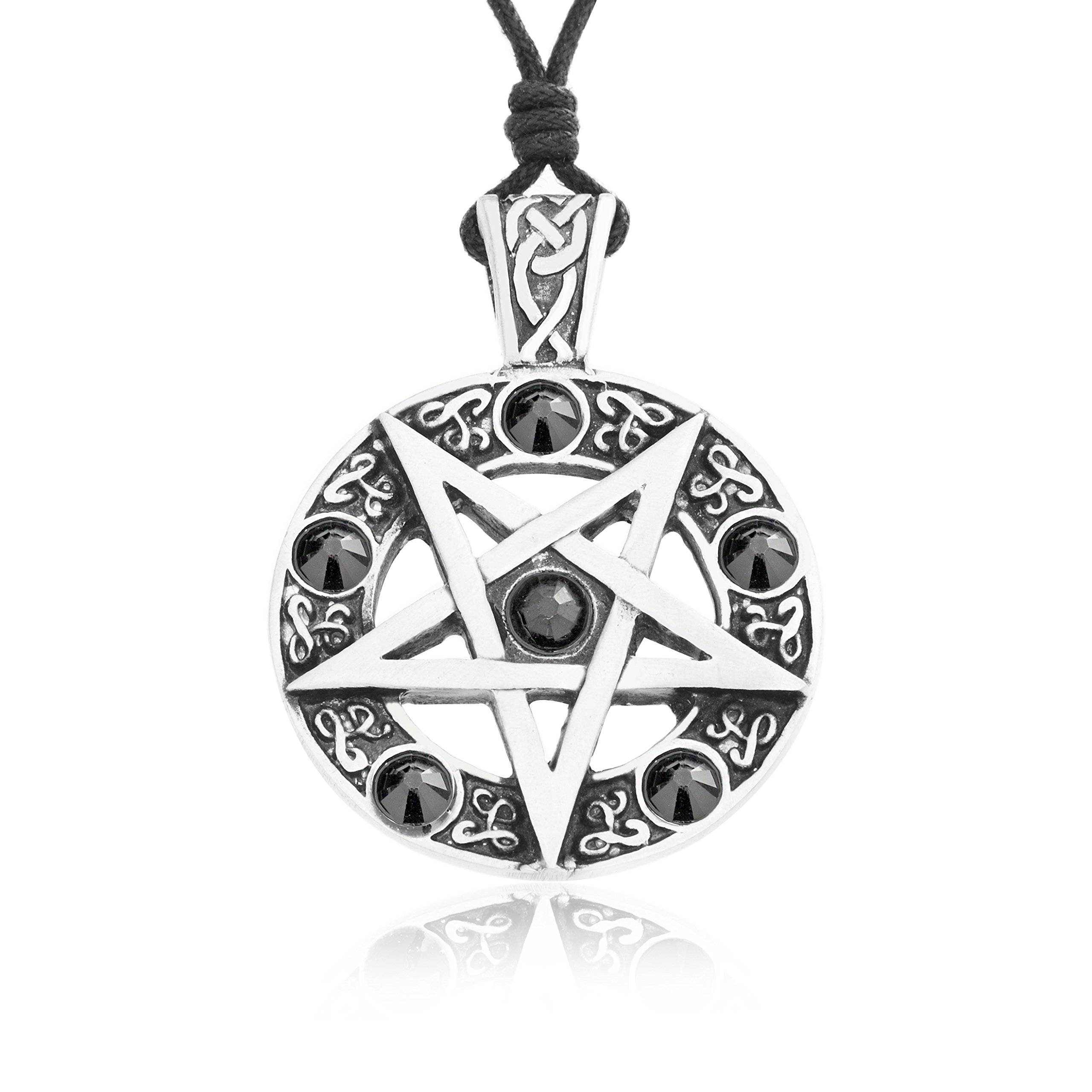 Dan's Jewelers Inverted Pentagram Pentagram Necklace + Silver Plated Clasp, Fine Pewter Jewelry