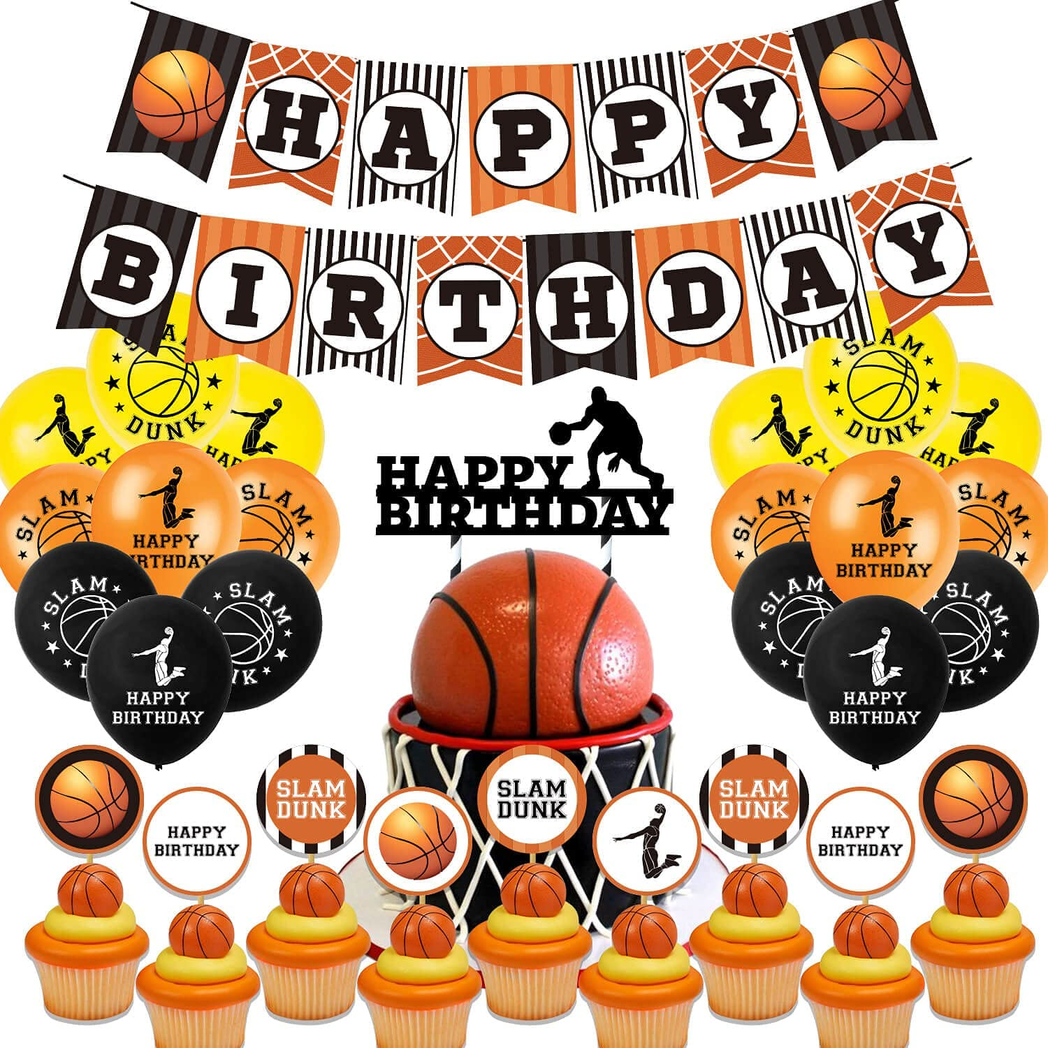 Basketball Party Decorations Supplies, AHQ Basketball Theme Birthday Party Decor with Banner, Balloons, Cupcake Toppers, Slam Dunk for Kids, Boys, Girls, Teenagers
