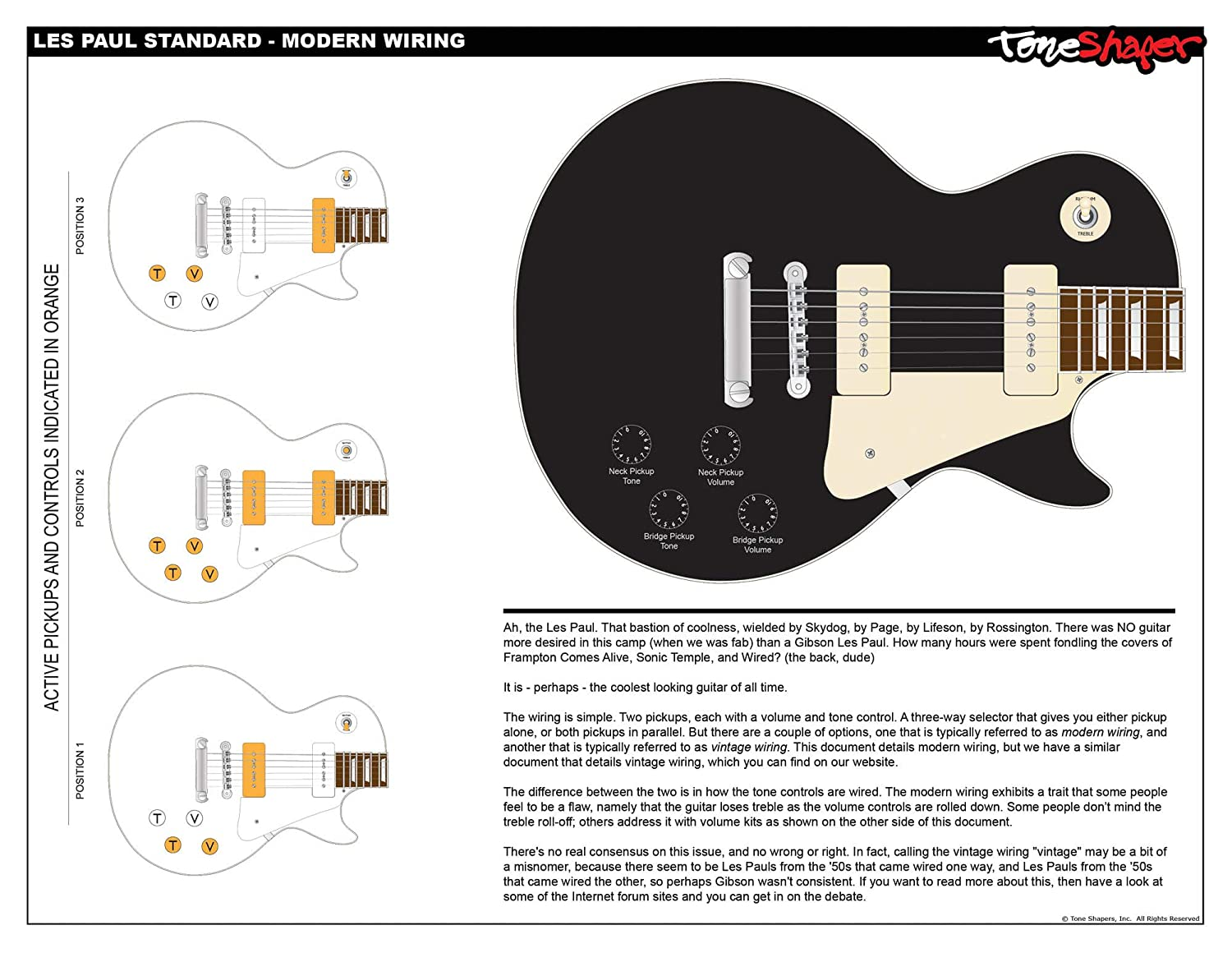 Toneshaper Guitar Wiring Kit For Les Paul Standard Modern Wiring Amazon In Musical Instruments