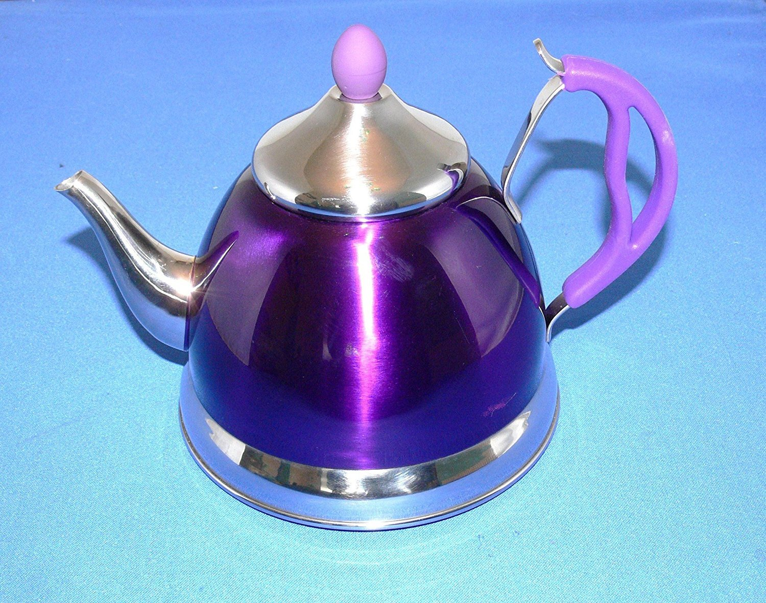 Retro Stove Top Kettle & Teapot Combined. Metallic Purple & Chrome. Suitable for Ceramic - Induction Hobs