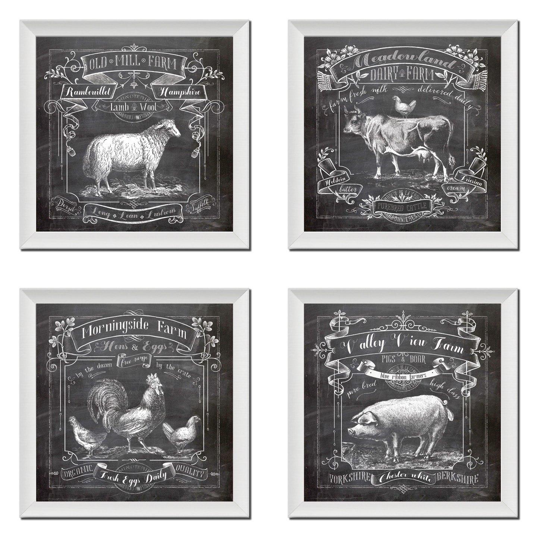 Amazon.com: Chalkboard Kitchen Art; Dairy Farm, Old Mill Farm ...