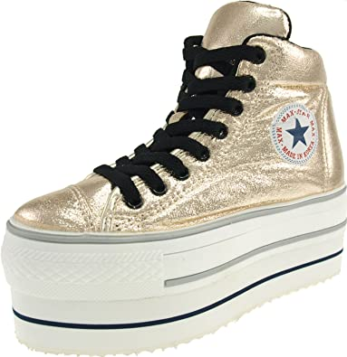 783b3e8f5150 Maxstar Women's CN9 Padded Lining Double Platform TC High Top Sneakers Gold  5.5 B(M