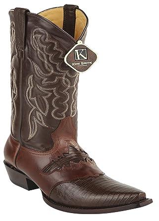 Women's Snip Toe Cognac Genuine Leather Saddle Teju Skin Western Boots