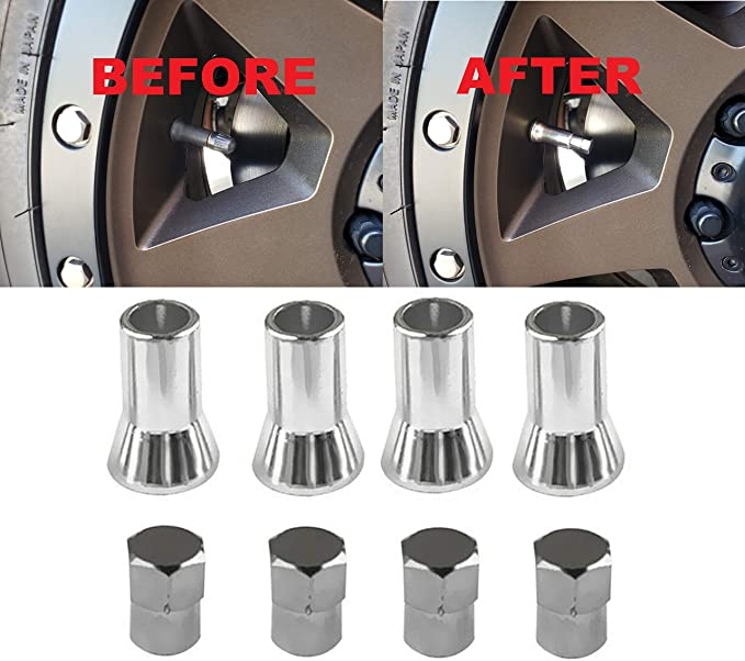 Certificate 4 Count Made of Rust Proof Aluminum Metal w// Reflective Anodized Material Hex Smooth Rounded Corners {Black} Custom Tire Wheel Rim Valve Stem Dust Cap Cover Seal w// Easy Grip Texture