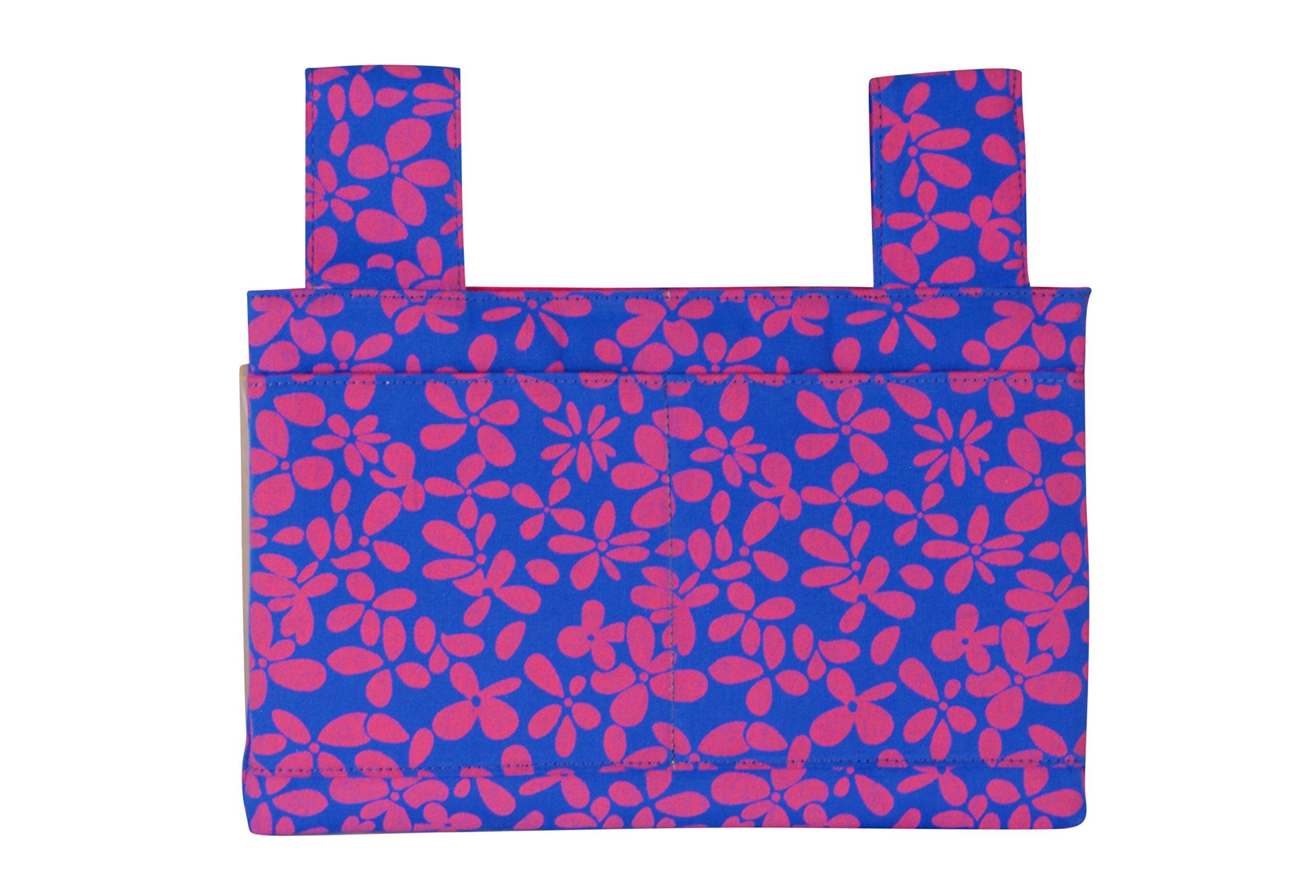 Qelse Designer Walker Bag 3-Pocket Tote Organizer Pouch ROYAL BLUE FLORAL Accessories for Beautiful Mobility