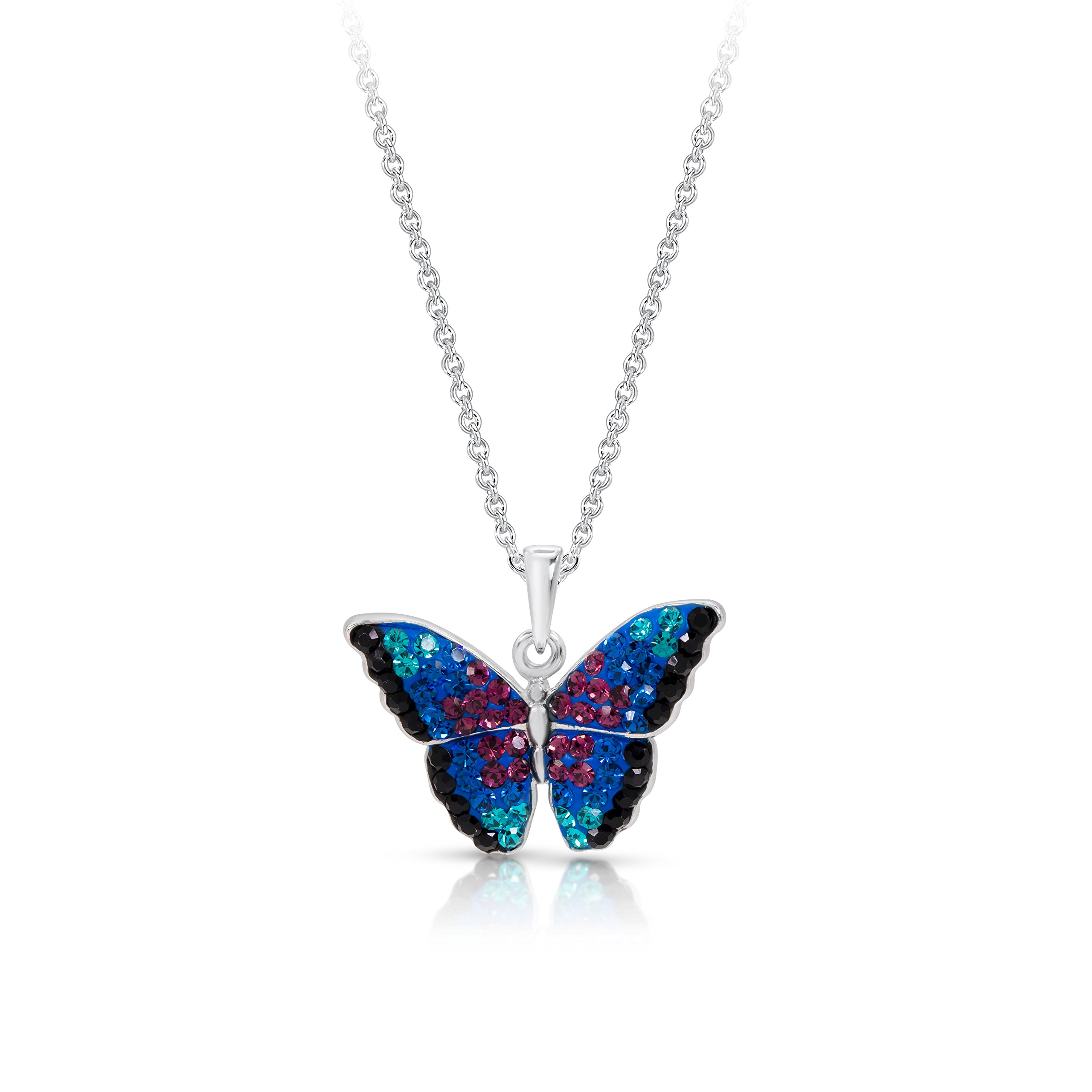 BLING BIJOUX Jewelry Blue Rainbow Crystal Monarch Butterfly Pendant Never Rust 925 Sterling Silver Natural and Hypoallergenic Chain with Free Breathtaking Gift Box for a Special Moment of Love
