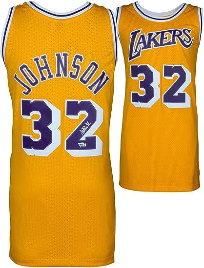 a7cba5c8e76e Magic Johnson Los Angeles Lakers Autographed Gold Mitchell   Ness Hardwood  Classics Swingman Jersey - Fanatics