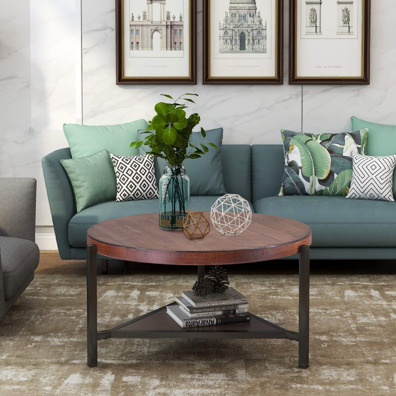 - Amazon.com: Round Coffee Table With Shelf,JULYFOX Industrial