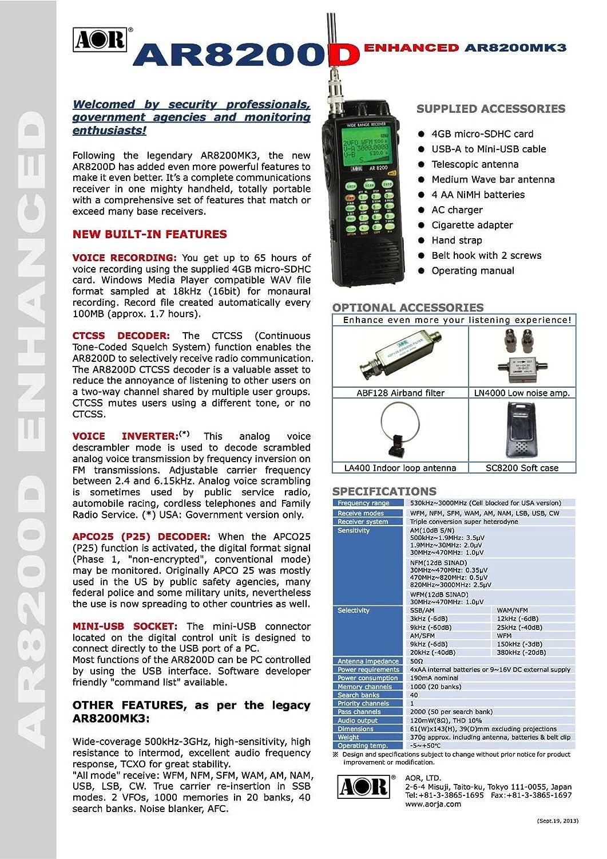 Amazon.com: AOR AR8200D Wide Range Communications Receiver: Home Audio &  Theater