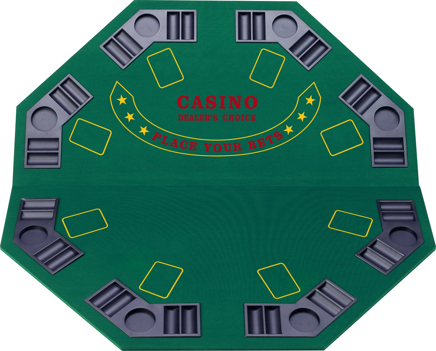Fat Cat Folding Blackjack/Poker Game Table Top: Octagon Layout, 8 Player by Fat Cat by GLD Products