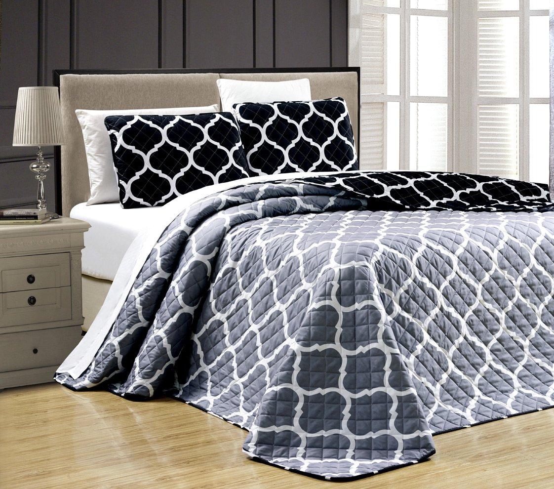 3-Piece Fine printed Oversize Quilt Set Reversible Bedspread