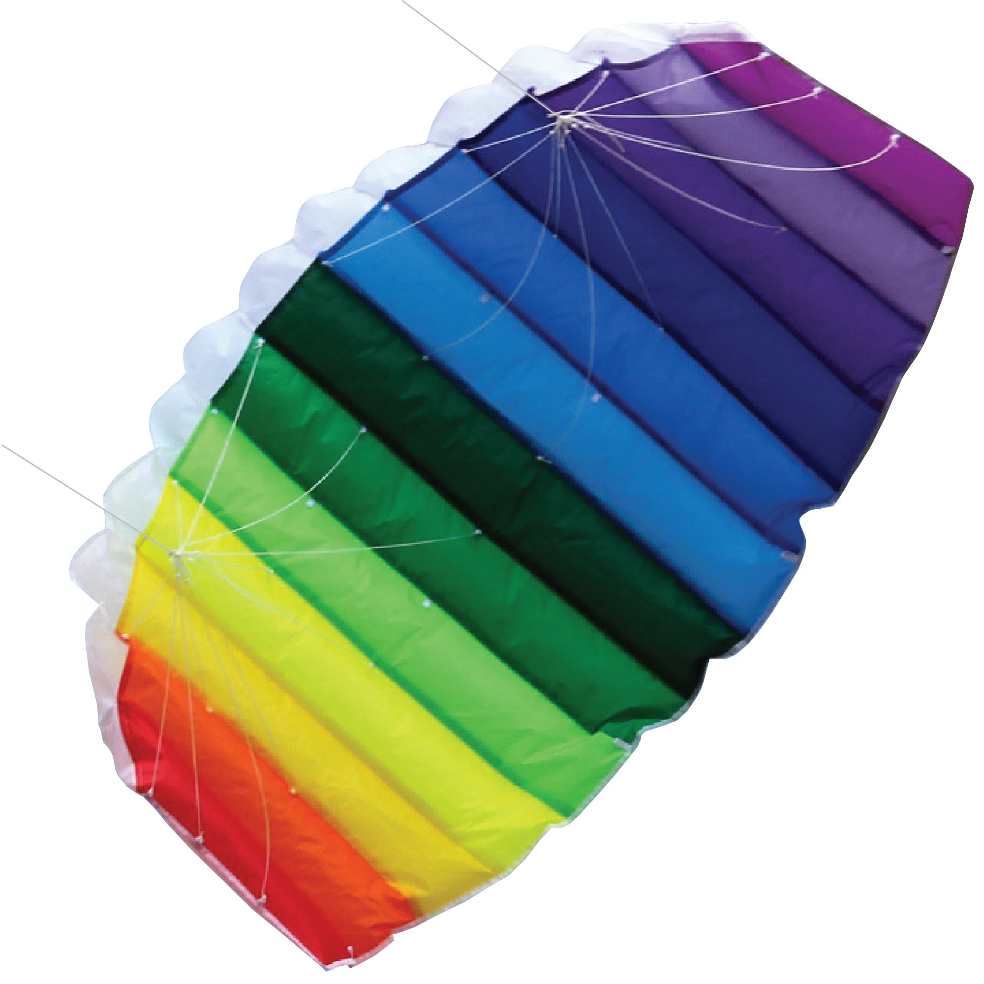 Moon Glow Sports AIRFOIL Stunt Sport Kite Dual-Line with Strings, Handles, Carry Bag, Winder, Free Flying Tips eBook, Easy Assembly, Rainbow Color