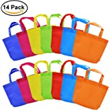 Gift Tote Bags DIY Party Favor Non-woven Blank Bags 7 Assorted Bright Color with Handle,13 by 10 inch for Kids Adults (14 Pack)