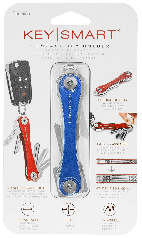 KeySmart Extended | Compacto Llavero y Organizador (2-8 Llaves, Azul)