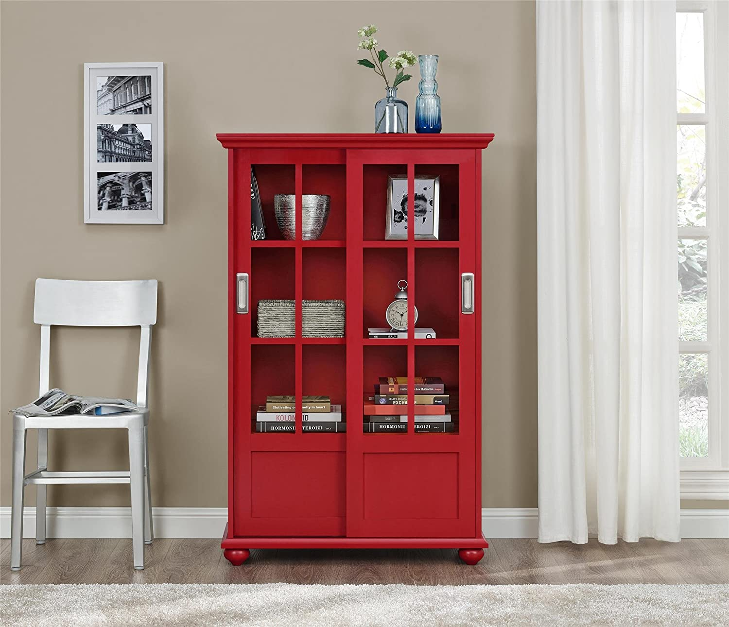 Gentil Amazon.com: Altra Aaron Lane Bookcase With Sliding Glass Doors, Red:  Kitchen U0026 Dining