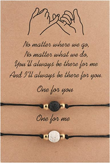2PCS Distance Matching Couple Bracelets Best Friends Boyfriend and Girlfriend Friendship Relationship His and Hers Pinky Promise Bracelet