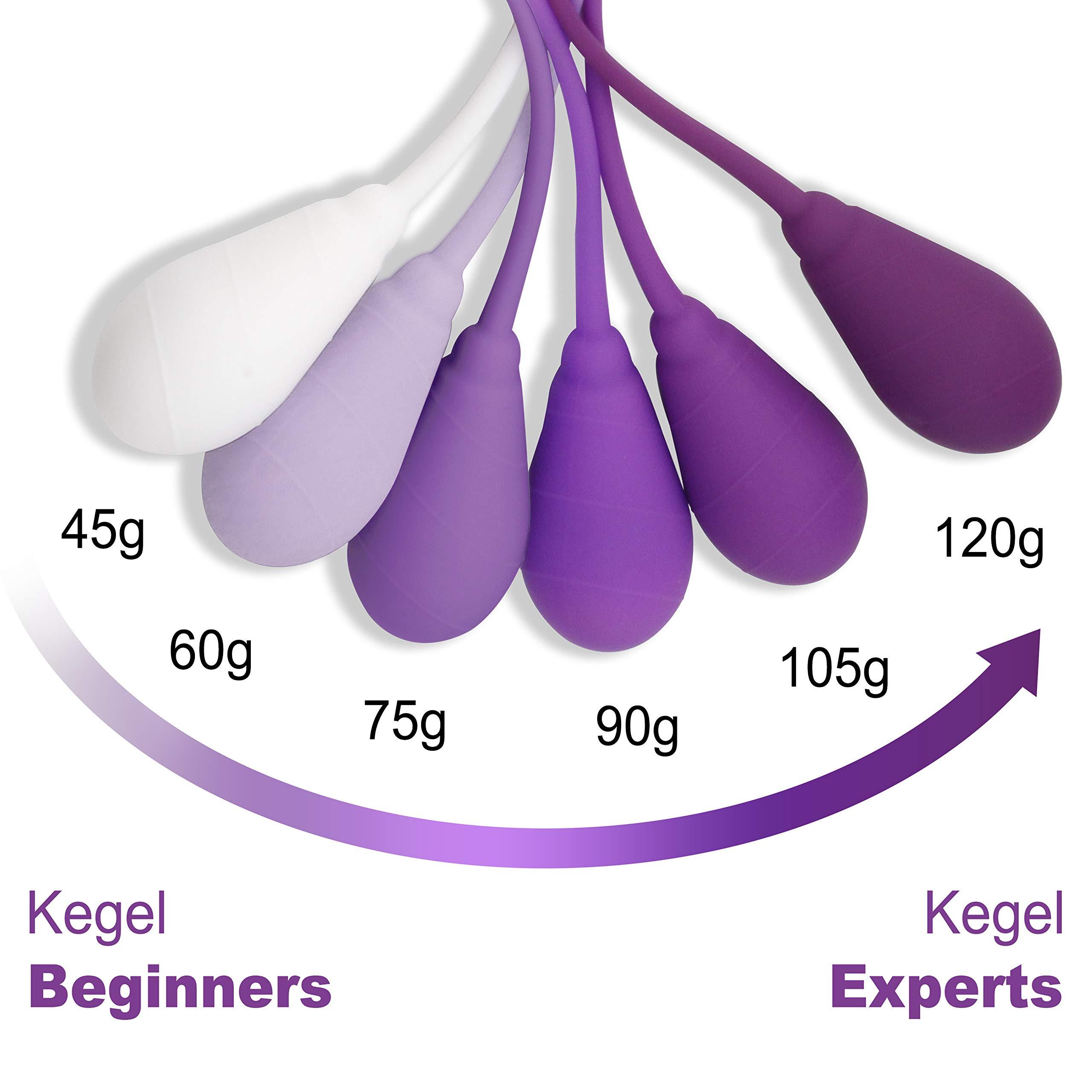 Kegel Exercise Weights Ben Wa Balls for Bladder Control & Pelvic Floor Exercises - Set of 6 Premium Silicone Vaginal Tighten Strengthen &Training Kegel Balls for Women Beginners & Advanced