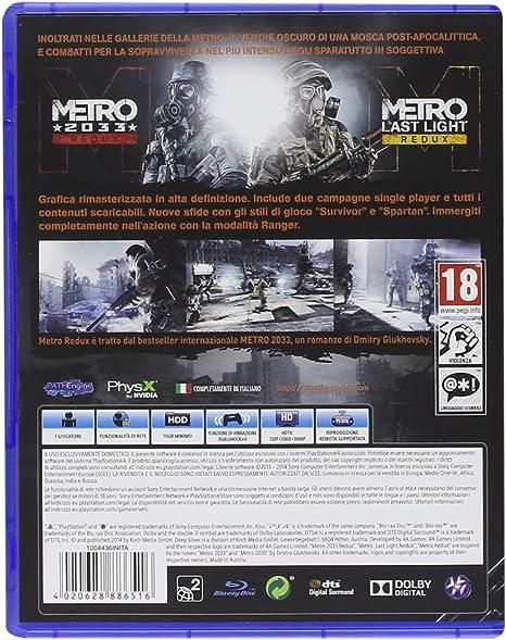 Deep Silver Metro Redux, PS4 - Juego (PS4, PlayStation 4, Acción / Aventura, SO (Sólo Adultos)): Amazon.es: Videojuegos
