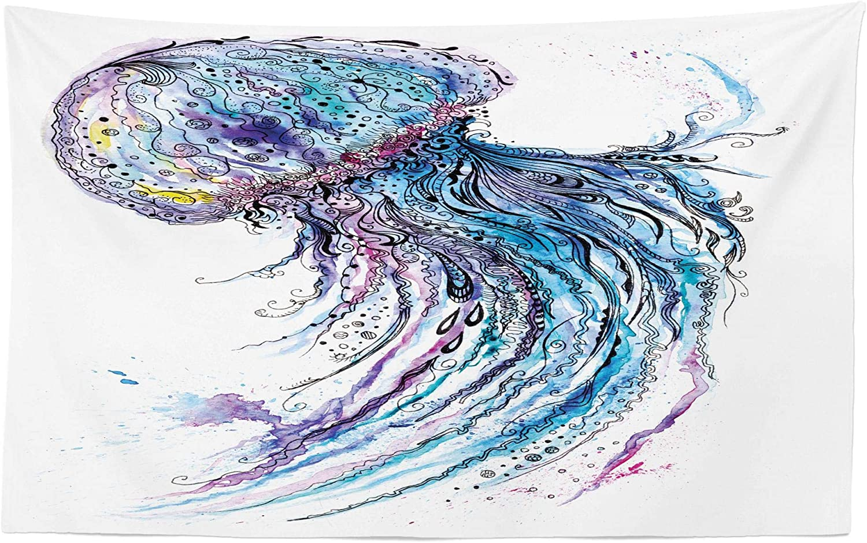 ABAKUHAUS Medusa Tapiz de Pared y Cubrecama Suave, Arte Color Cyan Océano Estampa Animal Estilo Bosquejo Creativo Tema Marino, Resistente a la ...