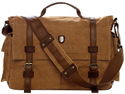 Amazon.com | Military Vintage Laptop Canvas Leather Messenger Bag ...