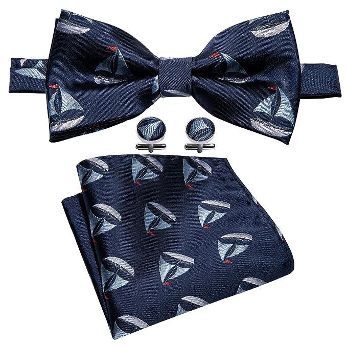 Barry.Wang Conjunto de corbata de lazo y pañuelo de bolsillo ...